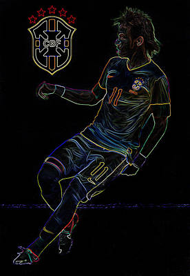 Neymar Neon II Poster by Lee Dos Santos
