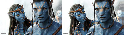 Neytiri And Jake - Gently Cross Your Eyes And Focus On The Middle Image Poster