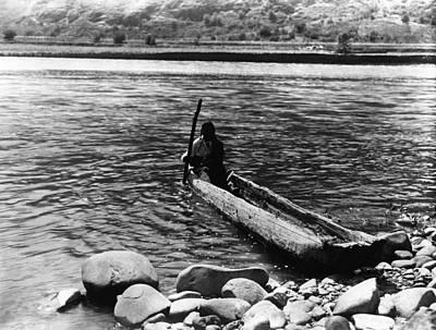 Nez Perc� Canoe. Nez Perc� Man Poster by Everett