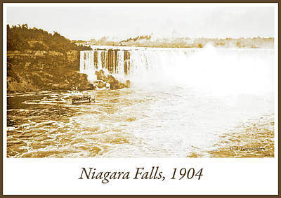 Poster featuring the photograph Niagara Falls Ferry Boat 1904 Vintage Photograph by A Gurmankin