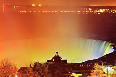 Poster featuring the photograph Niagara Falls Illumination Light Show by Charline Xia