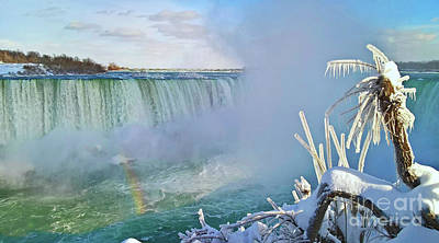 Poster featuring the photograph Niagara Falls Winter Landscape by Charline Xia
