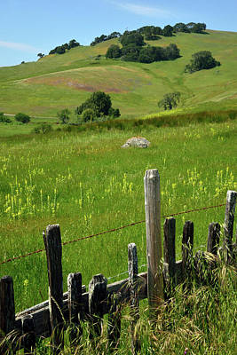 Nicasio Fence And Hills In Spring 2 Poster by Kathy Yates