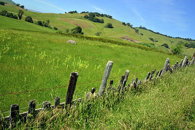 Nicasio Fence And Hills In Spring Poster by Kathy Yates