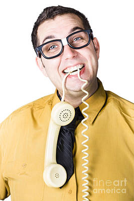 Nice Businessman Answering Telephone Call Poster