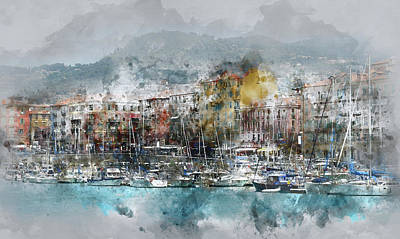 Nice France Digital Watercolor On Photograph Poster by Brandon Bourdages