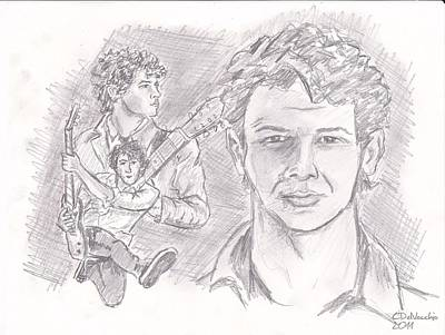 Poster featuring the drawing Nick Jonas by Chris  DelVecchio