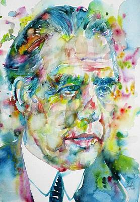 Poster featuring the painting Niels Bohr - Watercolor Portrait by Fabrizio Cassetta