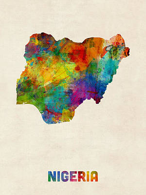 Nigeria Watercolor Map Poster by Michael Tompsett
