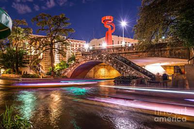 Night Along The Riverwalk Poster