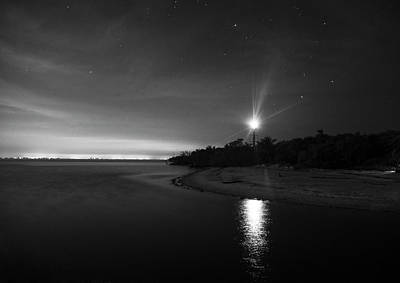 Night At The Sanibel Lighthouse In Black And White Poster