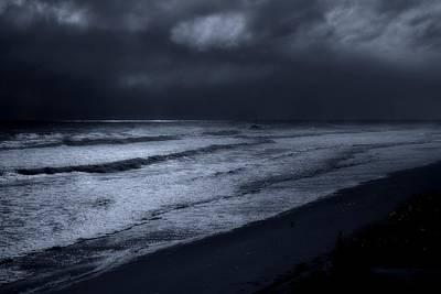 Night Beach - Jersey Shore Poster by Angie Tirado