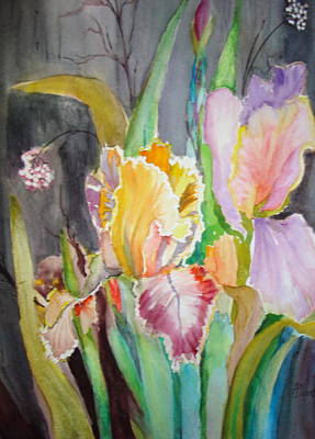 Poster featuring the painting Night Blooms by AnnE Dentler