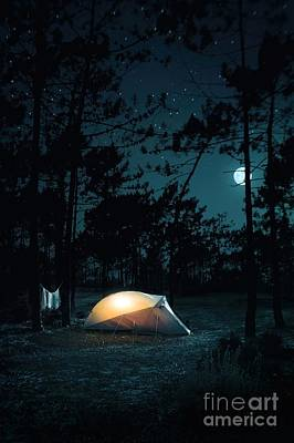 Night Camping Poster by Carlos Caetano