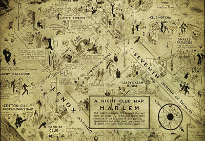 Night Club Map Of Harlem Poster by Bill Cannon