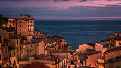 Night Falls In Riomaggiore Cinque Terre Italy Poster by Joan Carroll