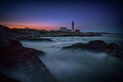 Poster featuring the photograph Night Falls On Portland Head by Rick Berk