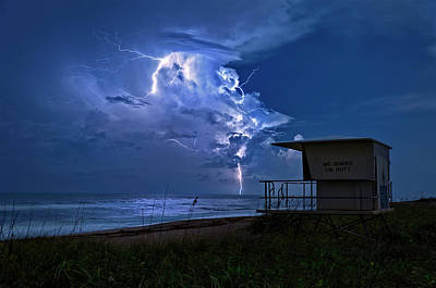 Night Lightning Under Full Moon Over Hobe Sound Beach, Florida Poster