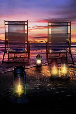 Poster featuring the photograph Night Lights At Sunset by Debra and Dave Vanderlaan