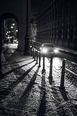 Poster featuring the photograph Night Lights. Prague by Jenny Rainbow