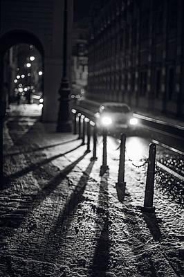 Night Lights. Prague Poster by Jenny Rainbow