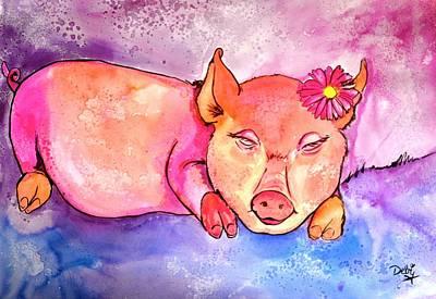 Night Night Little Piggy Poster by Debi Starr