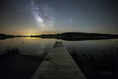 Night On The Dock Poster by Aaron J Groen