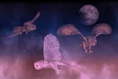 Night Owls Poster by Betsy Knapp