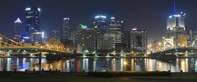 Night Panorama Of Pittsburgh Poster by Frozen in Time Fine Art Photography