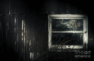 Night Photo Of An Eerie Grunge Window In Moonlight Poster