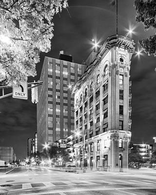Night Photograph Of The Flatiron Or Saunders Triangle Building - Downtown Fort Worth - Texas Poster by Silvio Ligutti