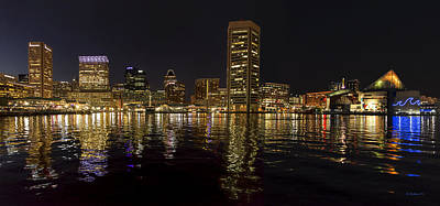 Night Reflections - Pano Poster by Brian Wallace