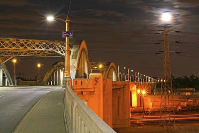 Night Shot Of The Los Angeles 6th Street Bridge And Supermoon #1 Poster