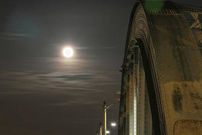 Night Shot Of The Los Angeles 6th Street Bridge And Supermoon #2 Poster