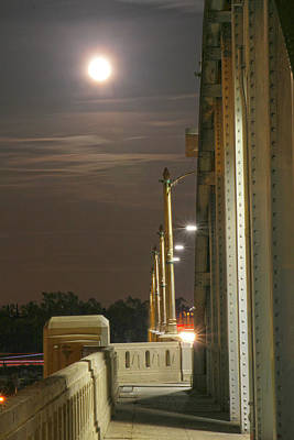 Night Shot Of The Los Angeles 6th Street Bridge And Supermoon #3 Poster