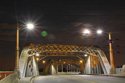 Night Shot Of The Los Angeles 6th Street Bridge And Supermoon #5 Poster