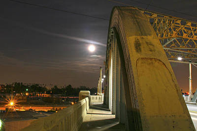 Night Shot Of The Los Angeles 6th Street Bridge And Supermoon #6 Poster