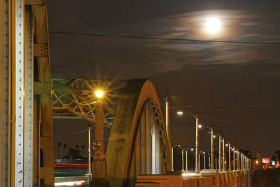 Night Shot Of The Los Angeles 6th Street Bridge And Supermoon #7 Poster