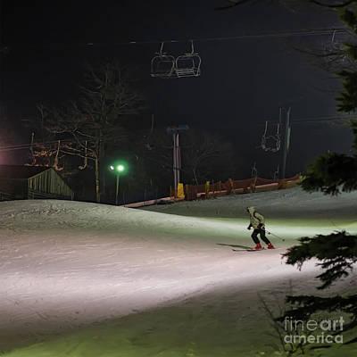 Night Skiing Poster