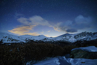 Night Sky Over Bierstadt Mountain Poster