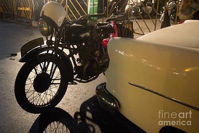 Night Time Silhouette Of Vintage Motorcycle Near Tail Of 50's St Poster by Jason Rosette