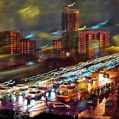Poster featuring the photograph Night Traffic by Vladimir Kholostykh