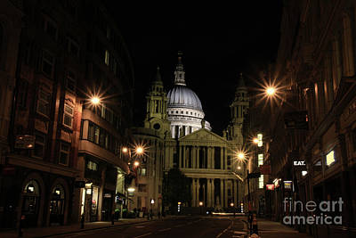 Night View Of St Pauls Cathedral  Poster