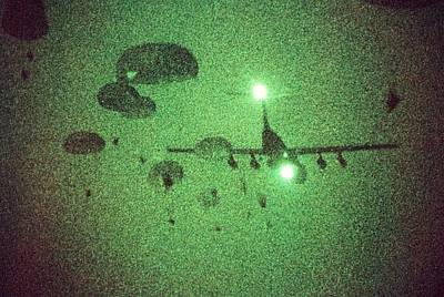Night Vision Image Of Paratroopers Poster by Everett