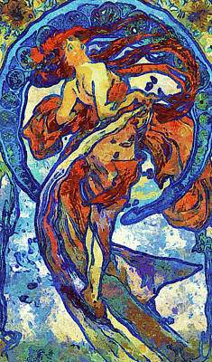 Night Woman Van Gogh Style Abstract Poster