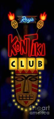 Nightclub Sign Rays Kon Tiki Club Poster by Shari Warren
