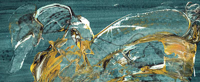 Nightingale - Black And Gold Abstract Bird Painting Poster by Modern Art Prints