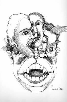 Poster featuring the drawing Nightmares by Padamvir Singh