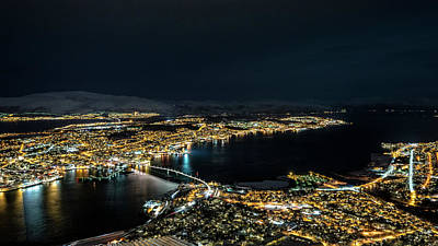 Nightscape Of Tromso Poster by Travel Quest Photography
