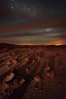 Nightscape Shadows On Planet Mars Poster